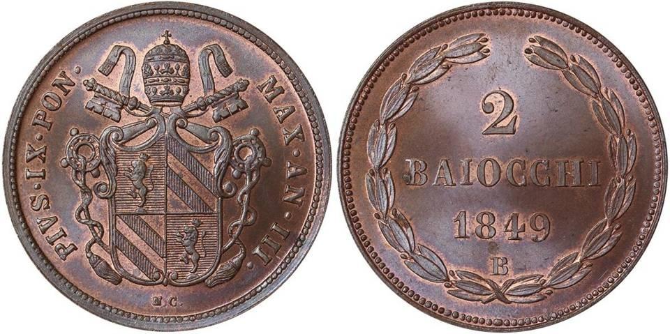 Un bellissimo esemplare di moneta da 2 baiocchi coniata a Bologna nel 1849