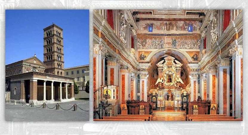 Esterno e interno dell'abbazia di Santa Maria a Grottaferrata, nelle vicinanze di Roma: la cittadina dei Castelli, al pari di altre località, era prediletta da papi, cardinali e nobili per l'edificazione di ville e palazzi e per le villeggiature