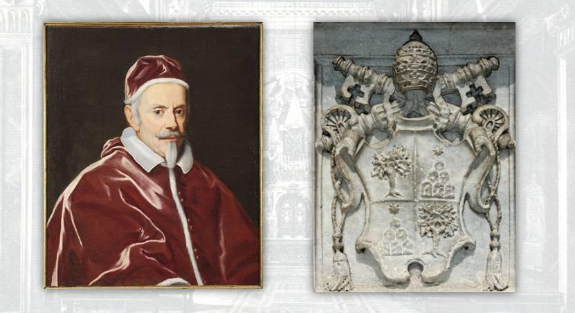 Papa Alessandro VII Chigi e il suo stemma: senese, figlio di banchieri e amante delle arti, fu a capo della Chiesa dal 1655 al 1667 e affidò importanti commissioni al Bernini, a Pietro da Cortona, a Carlo Maratta e altri maestri