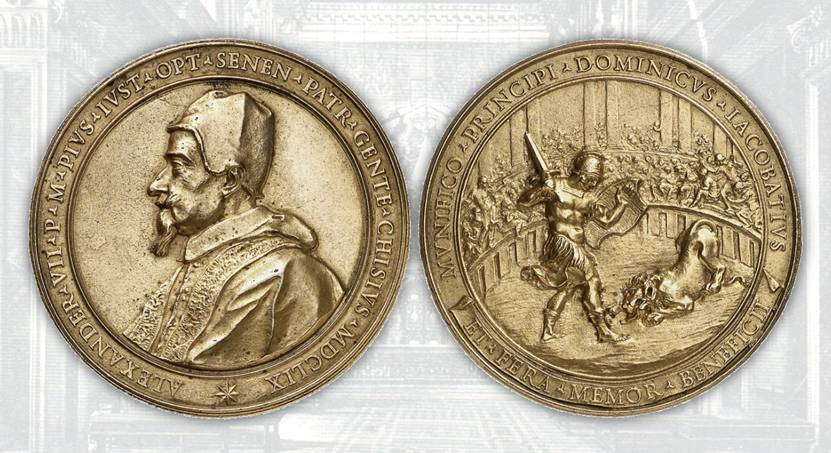 """Il """"Medaglione Jacobacci"""" modellato dal Travani e fuso nel 1659 (bronzo, mm 97) su disegni di Gianlorenzo Bernini: al ritratto di Alessandro VII abbina una scena mitologica per celebrare la fine della pestilenza a Roma"""