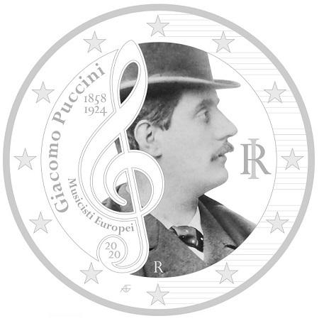Tra le creazioni di Fabrizio Annovi la proposta di una serie di monete da 2 euro da dedicare ai grandi compositori europei: qui Giacomo Puccini