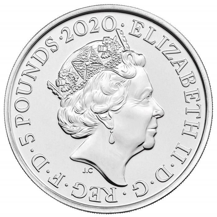 La sovrana più longeva e più effigiata in moneta nella storia, Elisabetta II d'Inghilterra, sul dritto delle monete dedicate a David Bowie