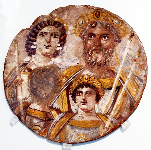 """Il famoso """"Tondo di Berlino"""" che ritrae Settimio Severo con la moglie Giulia Domna e i figli Caracalla e Geta"""