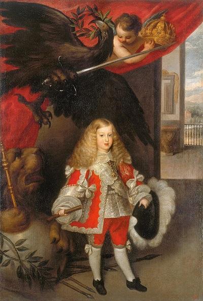 Carlo II d'Asburgo, ancora bambino e già ritratto con gli attributi della gloria e della regalità: sarà re di Napoli e Sicilia dal 1655 al 1700