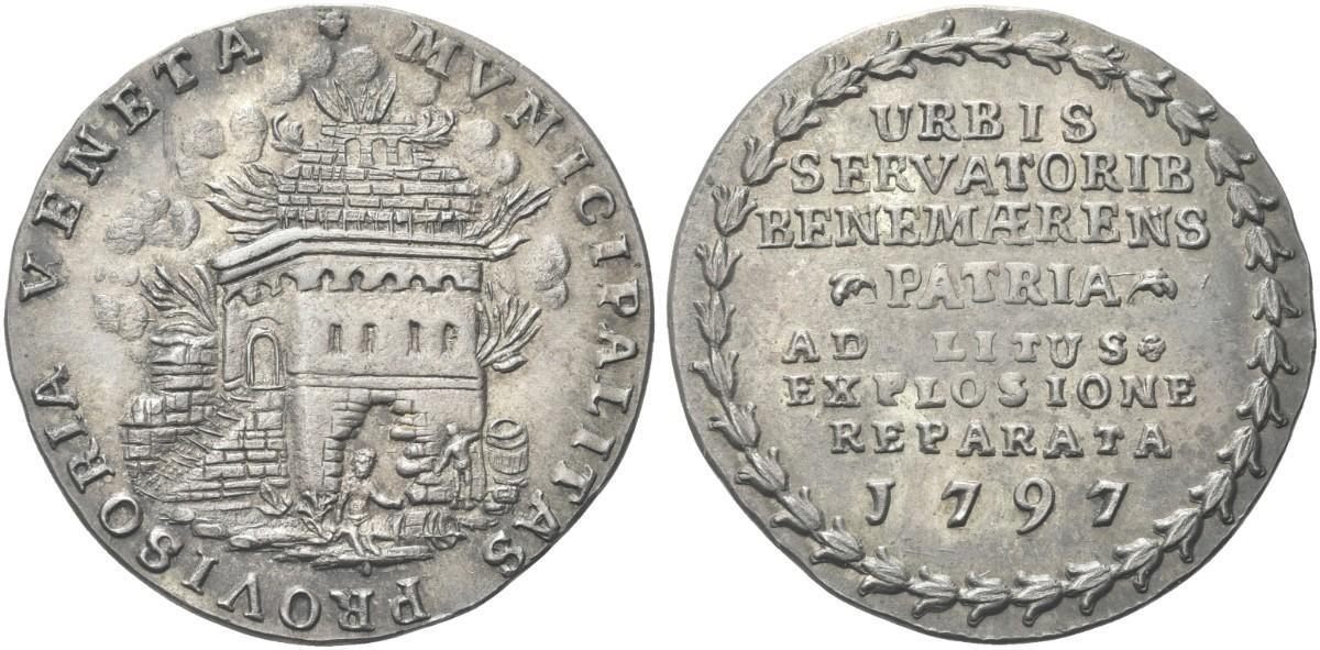 Si riferiscono all'incendio al deposito delle polveri del 1797 anche medaglie in argento e altri metalli
