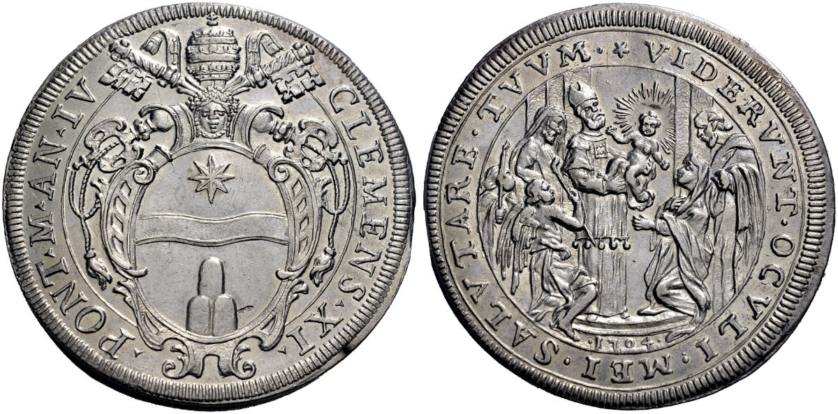 """Un esemplare di alta conservazione della piastra del 1704-IV di Clemente XI: moneta """"votiva"""", evoca quel 2 febbraio del 1703 in cui il """"Grande terremoto"""" rischiò di distruggere Roma"""