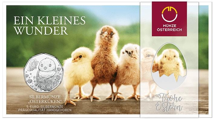 La colorata confezione della 5 euro in argento emessa il 10 marzo scorso da Vienna in vista della festa di Pasqua 2021
