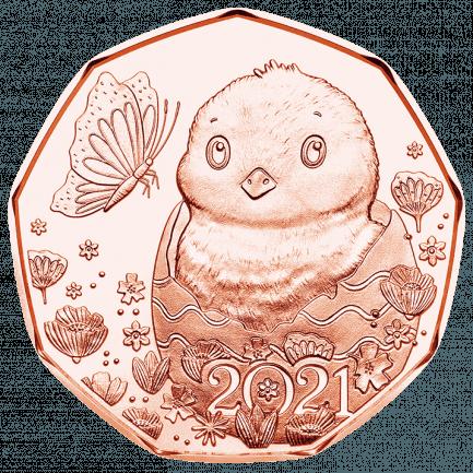 La serie delle euro monete d'Austria dedicate alla Pasqua si arricchisce di un simpatico pulcino in doppia versione, rame e argento, con valore facciale di 5 euro