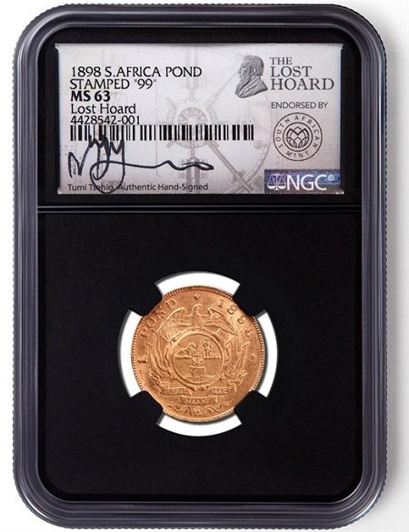 Uno dei pond in oro del tesoro perduto di Kruger certificato in slab dalla compagnia di grading NGC