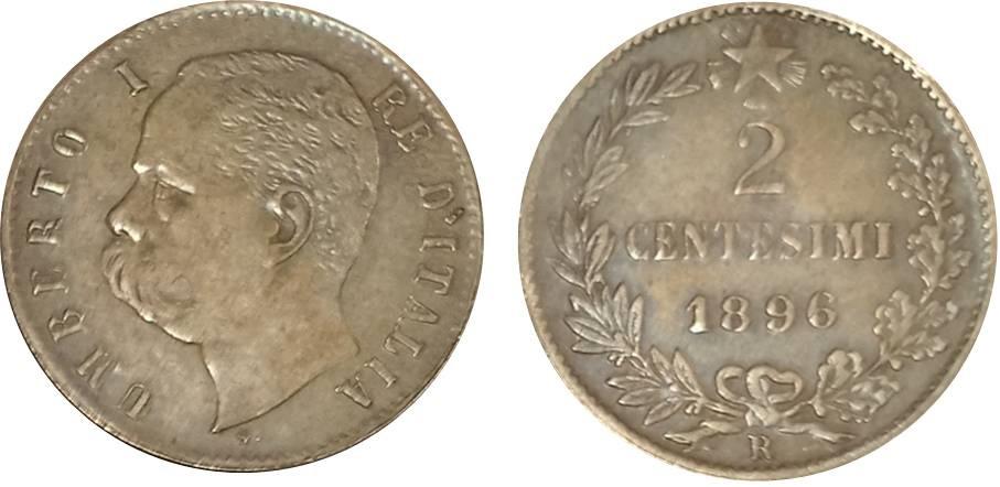 La moneta da 2 centesimi del 1896 in possesso del nostro lettore: dalle immagini non si riesce a capire se i rilievi evanescenti siano dovuti all'usura di un esemplare autentico o alla qualità non perfetta di un falso