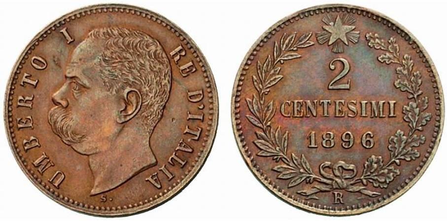 Un esemplare genuino e in quasi perfetta conservazione dei 2 centesimi di Umberto I, millesimo 1896: si tratta di una moneta R2 coniata in soli 281.500 pezzi dalla Regia Zecca di Roma e valutata fino a 750 euro