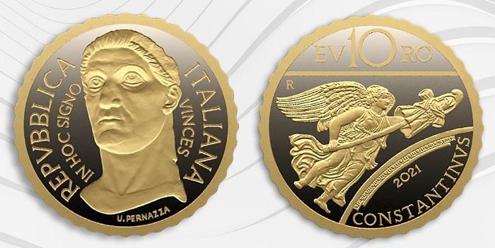 Costantino e un dettaglio del suo arco di trionfo sulla piccola, fortunata moneta in emissione il 29 aprile e già esaurita nel portale della Zecca