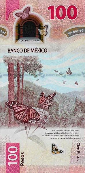 La riserva naturale delle farfalle monarca sul retro del biglietto premiato da IBNS