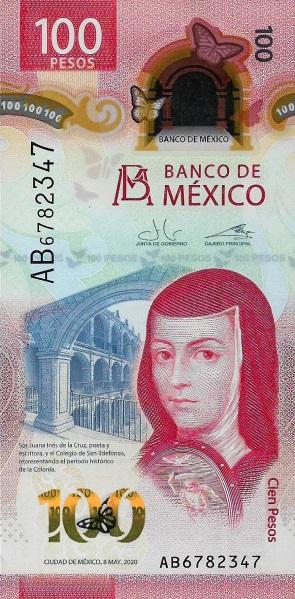 Sor Juana sul fronte della banconota messicana da 100 pesos