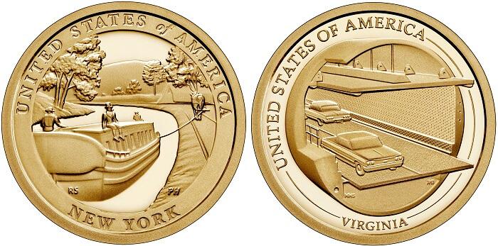 Opere di ingengeria dei trasporti di ieri e di oggi sui dollari dedicati allo Stato di New Your e alla Virginia: la US Mint produce queste monete commemorative sia in versione fior di conio che proof