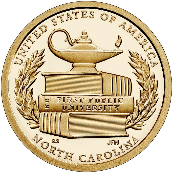 Onora la prima univeristà pubblica degli Stati Uniti, quella di Chapel Hill, il dollaro dedicato allo stato della Virginia