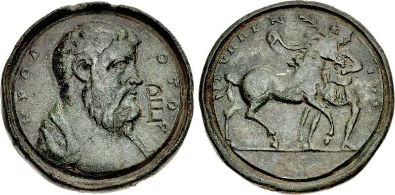 Eccezionale e unico, il contorniato in bronzo dedicato ad Erodoto vede al dritto un bel ritratto del personaggio e un rovescio allegorico, usato anche su una simile coniazione per il drammaturgo Terenzio