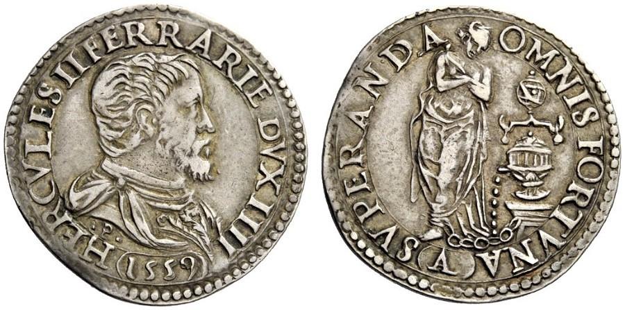 Un esemplare di ottima conservazione del testone (o quarto di scudo) ferrarese del 1559 con l'allegoria della Pazienza, amatissma dal duca Ercole II e derivata dal dipinto del Vasari realizzato pochi anni prima