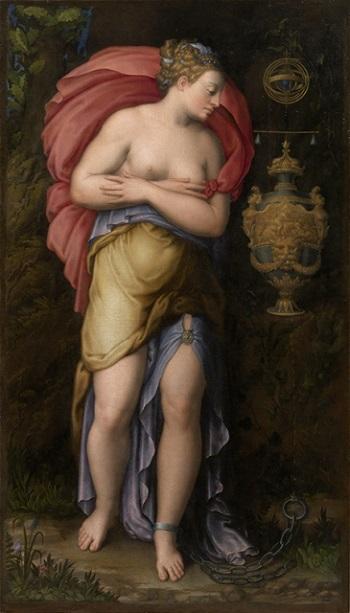 """La """"Allegoria della Pazienza"""" dipinta dal Vasari e conservata a Palazzo Pitti fu ispirazione per l'impresa scelta da Ercole II d'Este"""