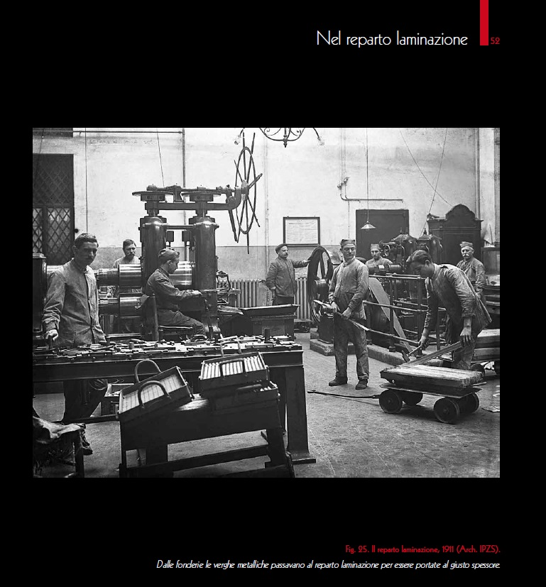 """Nel reparto laminazione della Regia Zecca all'Esquilino, circa un secolo fa, grazie ad una istantanea d'epoca fra le tante pubblicate nel quarto dei """"Quaderni della Zecca"""""""