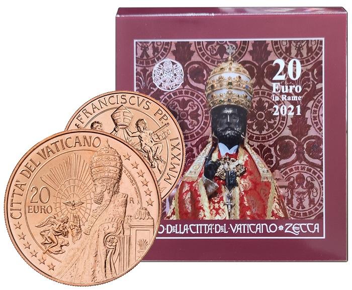 E' davvero bella, complice l'ampio modulo e il cromatismo del rame naturale, la 20 euro che la Zecca dello Stato della Città del Vaticano emetterà, assieme ad altre monete 2021, il 3 maggio prossimo