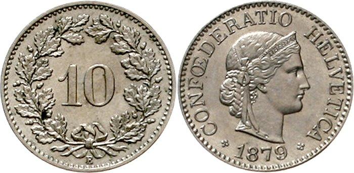 E' primato anche per i 10 rappen elvetici coniati a partire dal 1879 senza variazioni di soggetto: è la moneta più longeva del mondo secondo il Guinness World Record