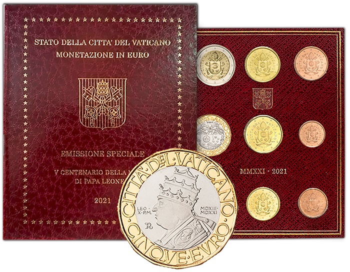 Ecco papa Leone X, così come lo ha ritratto Marco Ventura sui 5 euro vaticani al cui rovescio sono abbinate le araldiche del pontefice regnante e di quello celebrato in moneta