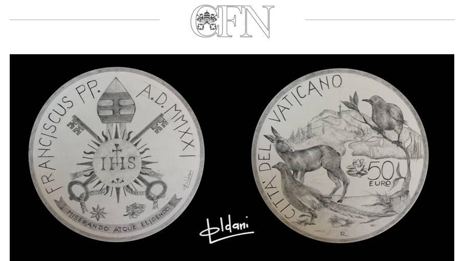 Il rispetto della natura e del pianeta come basi per il futuro dell'umanità: questo il messaggio di papa Francesco trasposto in moneta da Luigi Oldani