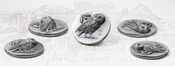 Un collage di inquadrature della nuova moneta pensata dai creativi di CIT Coin invest che rende onore ad uno dei nominali più prestigiosi del mondo classico, vera e propria valuta internazionale nel V secolo avanti Cristo
