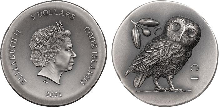 In versione moderna, la civetta di Atene spicca in altorilievo sulle once da 5 dollari d'argento appena emesse da Cook Islands per i collezionisti numismatici