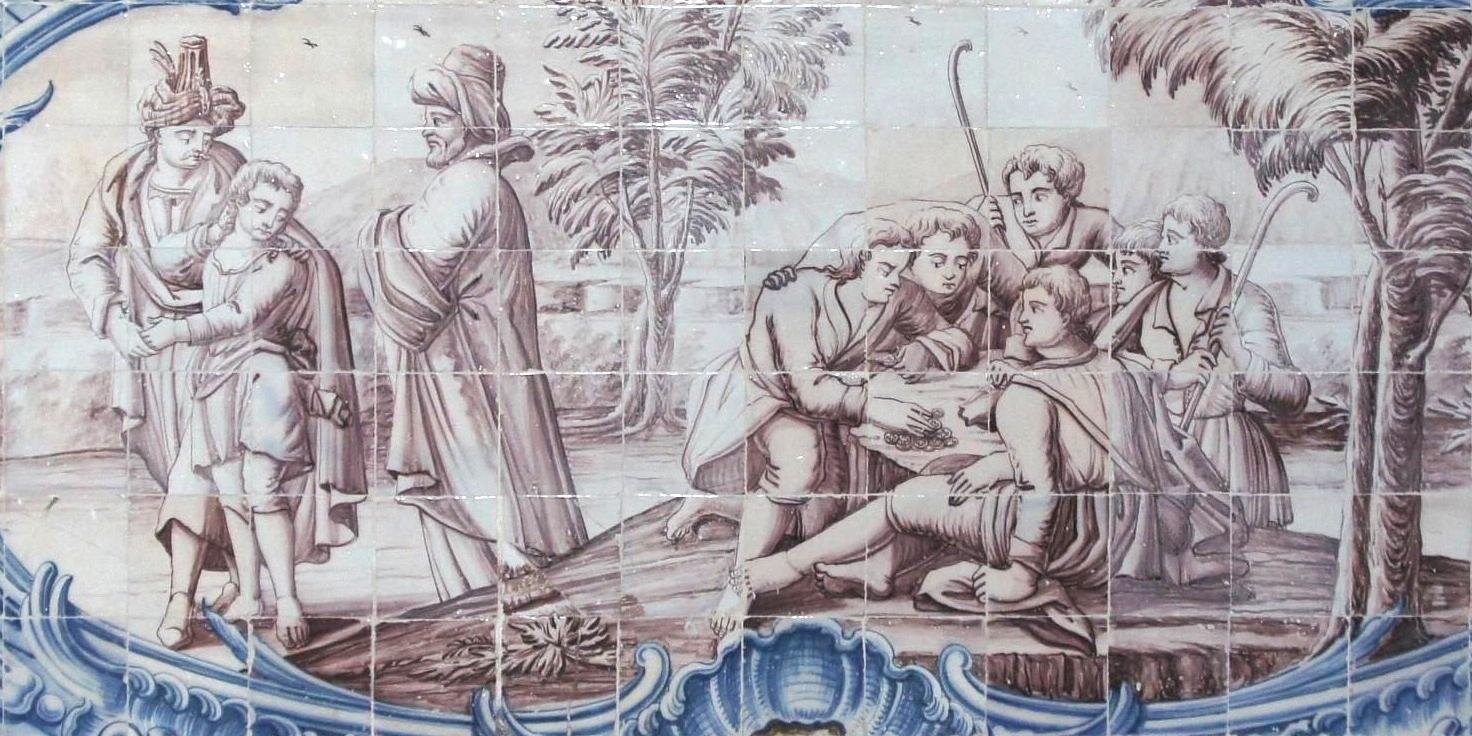 Giuseppe venduto dai fratelli ai Medianiti: questa decorazione a piastrelle maiolicate fa parte di un ciclo che abbellisce il chiostro del monastero geronimita di Belem, a Lisbona