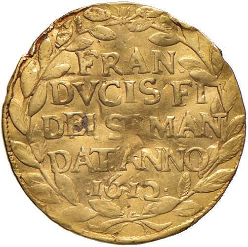 Il dritto del ducato ongaro proposto da Nomisma in asta 63: ricorda l'ascesa al trono di Mantova del duca Francesco IV Gonzaga nel 1612