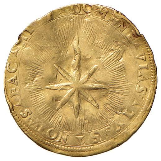 Inconsueto e affascinante il rovescio, dominato da una cometa e da un passo biblico che auspica la guida celeste sulle azioni del giovane e sfortunato duca
