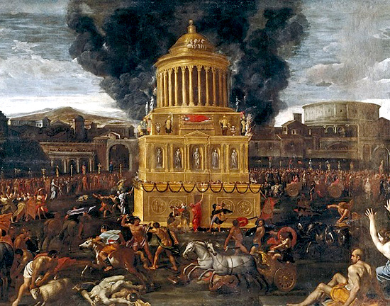 Un dipinto che raffigura come doveva apparire l'architettura funebre di epoca romana destinata alla cremazione dei corpi degli imperatori e dei loro familiari