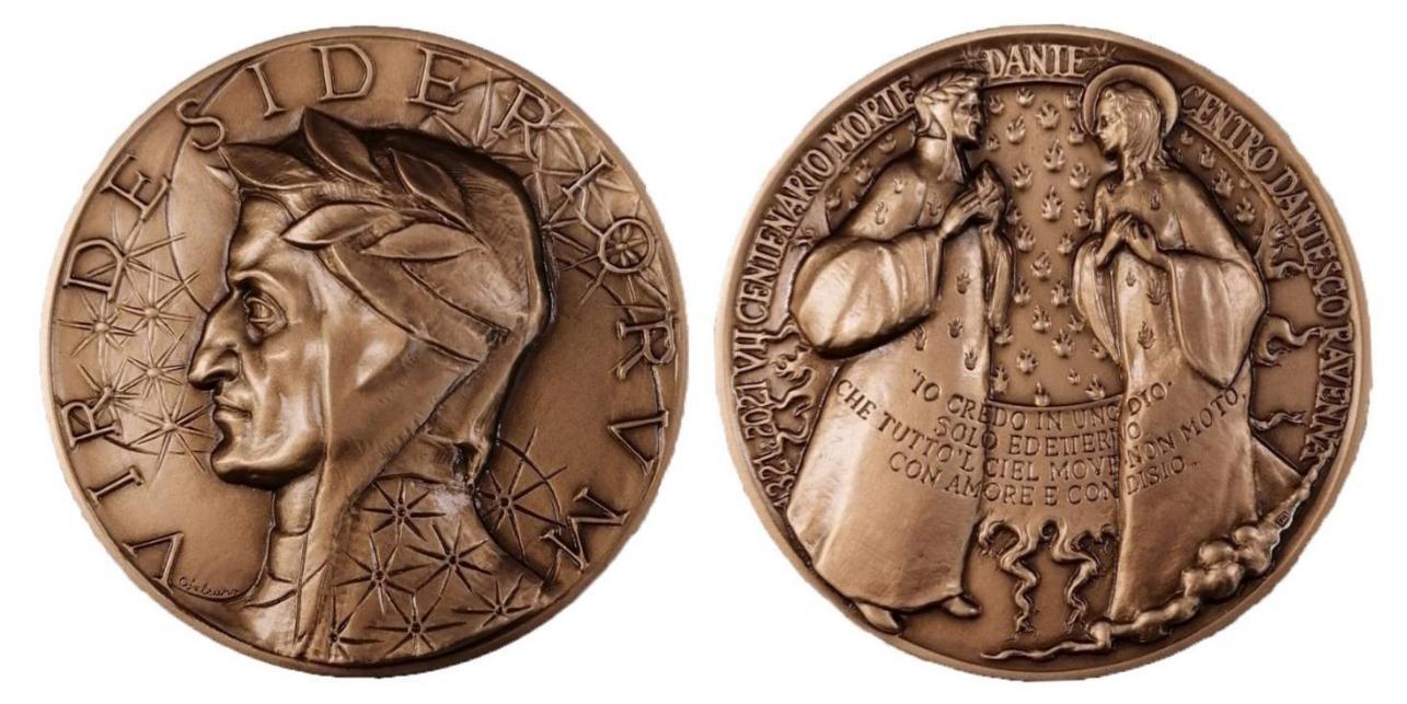 E' stata coniata dalla ditta storica Picchiani & Barlacchi di Firenze la medaglia in bronzo che il Centro dantesco di Ravenna ha emesso per il VII centenario della morte di Dante: sono solo cento gli esemplari della prima serie