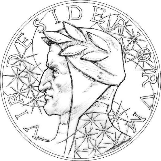 Bozzetto per il dritto della medaglia del Centro dantesco opera di Gionatan Salzano, brillate giovane artista diplomato presso la Scuola dell'arte della medaglia di Roma