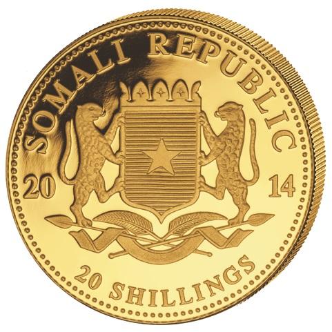 """Lo stemma della Repubblica Somala sul dritto della moneta da 20 scellini con l'elefante """"sottopeso"""""""
