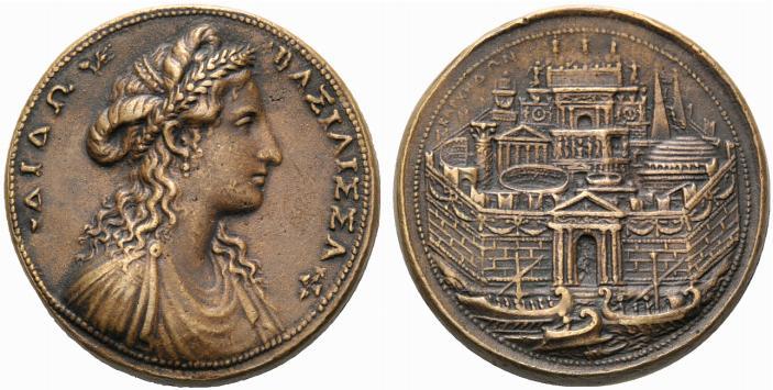 Το θαυμάσιο μετάλλιο του Grechetto το οποίο, εμπνευσμένο από τον θρύλο του Αινέα και του Διδώ, απεικονίζει το προφίλ της βασίλισσας της Καρχηδόνας στην εμπρόσθια όψη και μια φανταστική θέα της πόλης της Βόρειας Αφρικής στο πίσω μέρος
