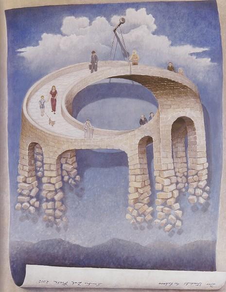 """""""Il viadotto della vita"""", opera di Sandro Del Prete, rappresenta un moderno esempio di arte basata sull'illusione ottica"""