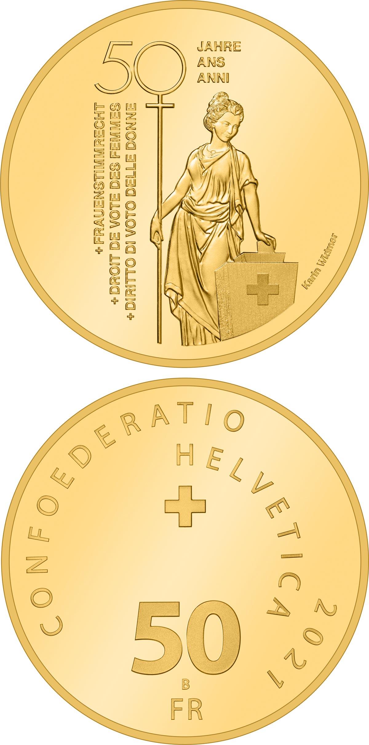 Delicata e dal profondo messaggio civile, la 50 franchi oro elvetica di quest'anno ricorda il mezzo secolo del diritto universale di voto alle donne elvetiche
