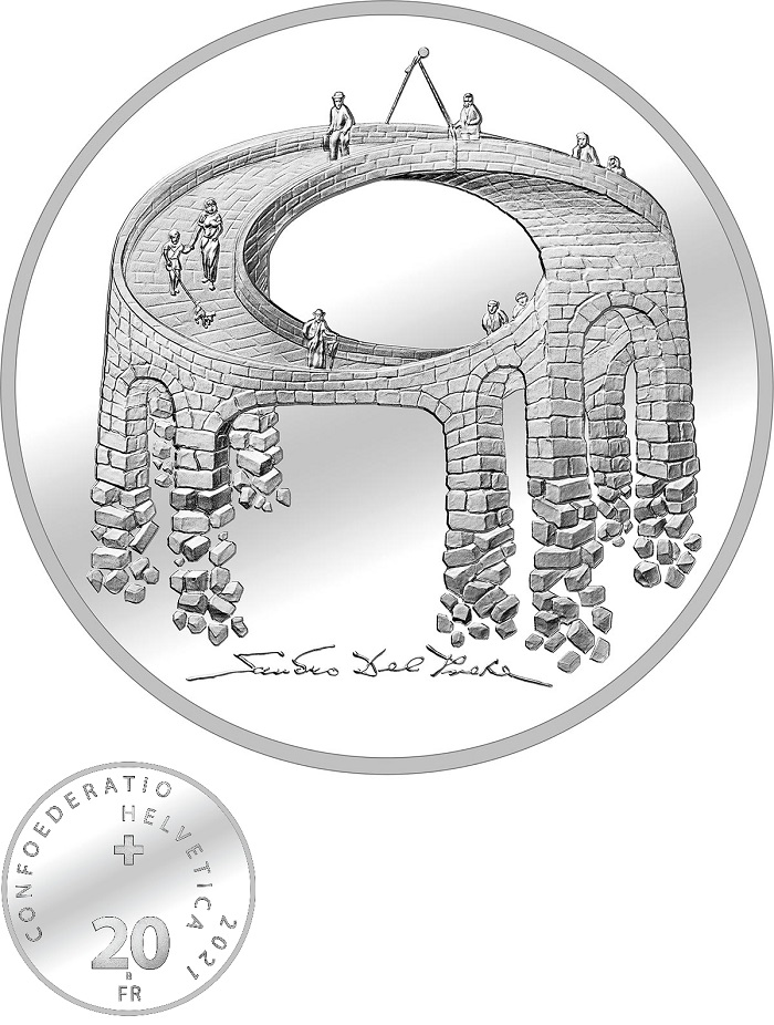 Il dipinto di Del Prete campeggia, indisturbato, sul rovescio della nuova moneta svizzera da 20 franchi in argento