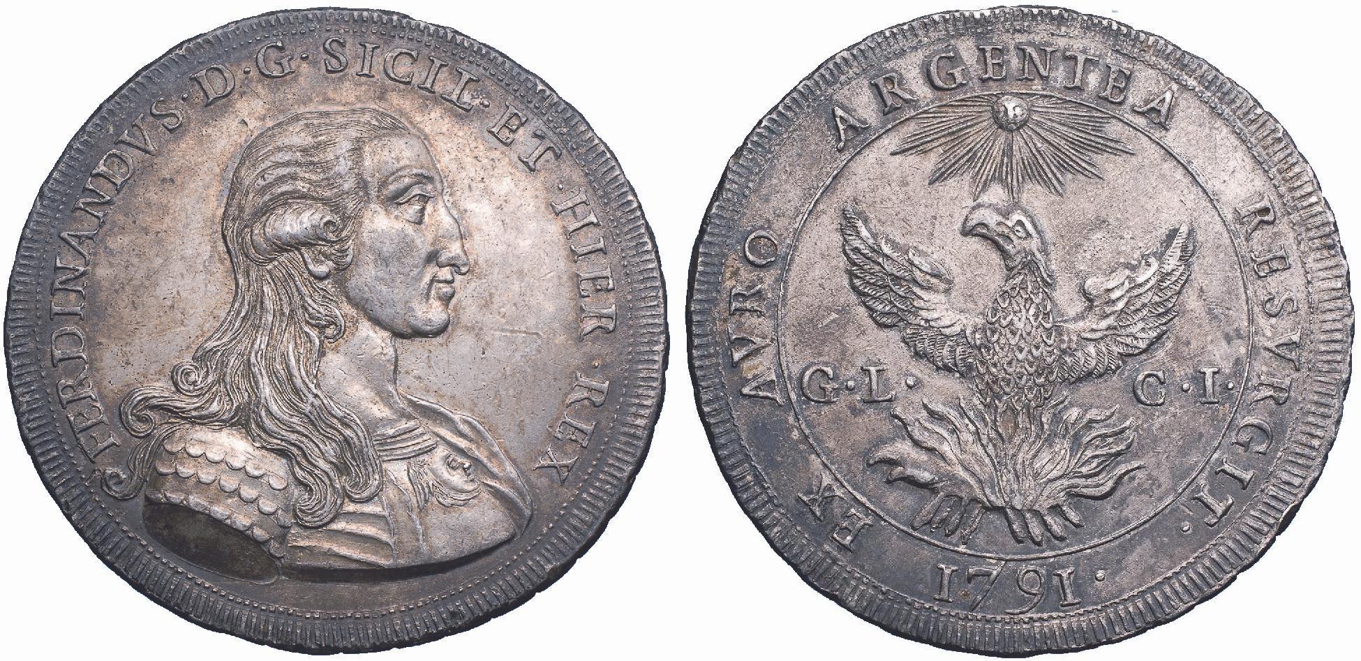 """I 30 tarì """"alla fenice"""" nella versione coniata nel 1791: il busto corazzato del re è ancora """"addolcito"""" nei tratti dalla bravura dell'incisione, come la fisionomia del mitologico e immortale volatile"""