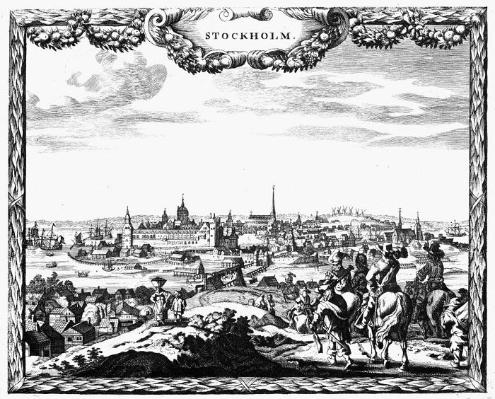 Una veduta della città di Stoccolma e del suo porto risalente al XVII-XVIII secolo: la capitale svedese era uno dei nodi commerciali e finanziari del Nord Europa
