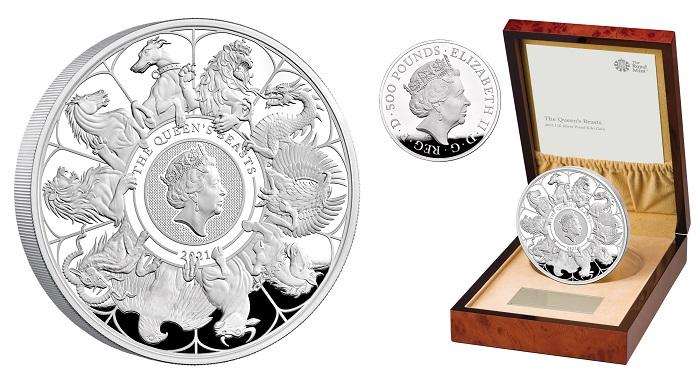 Una delle versioni in argento della moneta, quella da 500 pound di facciale che, prodotta in versione proof, pesa un chilo d'argento: al dritto il ritratto ufficiale della regina, ripetuto anche in un cammeo al rovescio