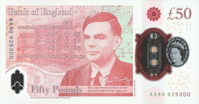 C'è il ritratto di Alan Turing, ci sono le sue equazioni e uno dei primi computer nati dal suo genio sul retro della nuova banconota da 50 pound che la Bank of England ha messo in circolazione da pochi giorni