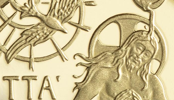 Di gusto vagamente gotico, simile a una miniatura e, al tempo stesso, evocativa delle decorazioni di una grande cattedrale: tutto questo è la 10 euro proof in oro emessa il 25 giugno dalla Zecca della Città del Vaticano