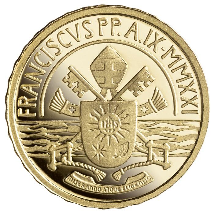 """Il fiume Giordano """"sottolinea"""" l'araldica di papa Francesco sulla 10 euro vaticana Battesimo 2021"""