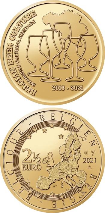 In alto i calici, per questa commemorativa belga da 2,50 euro dedicata alle birre nazionali