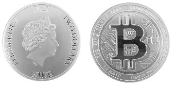 """SilverBitcoin, la prima """"evidenza fisica"""" della famosa criptovaluta realizzata come moneta di Niue al valore nominale di 2 dollari"""