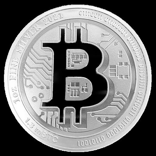 Il simbolo del Bitcoin, il peso in argento, il controvalore in milliBitcoin al 10 marzo 2021 e un codice binario sull'oncia di Niue ideata da Coininvest